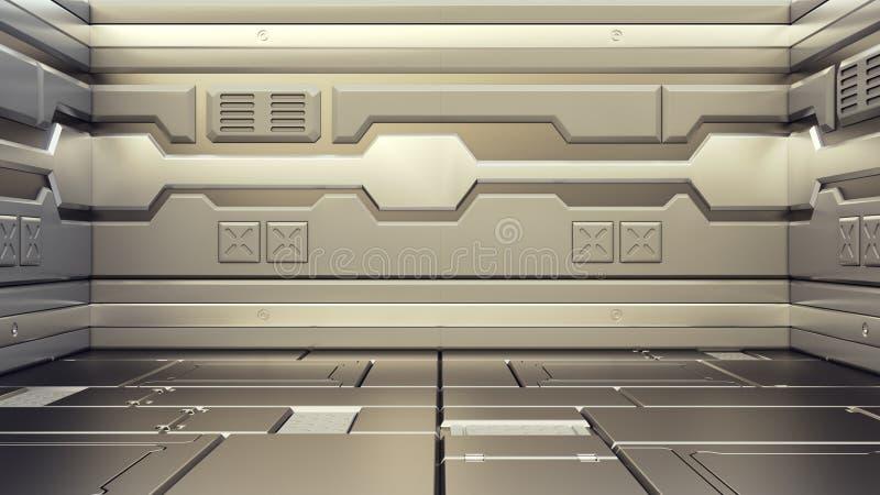 rappresentazione 3D del corridoio realistico dell'astronave di fantascienza illustrazione di stock