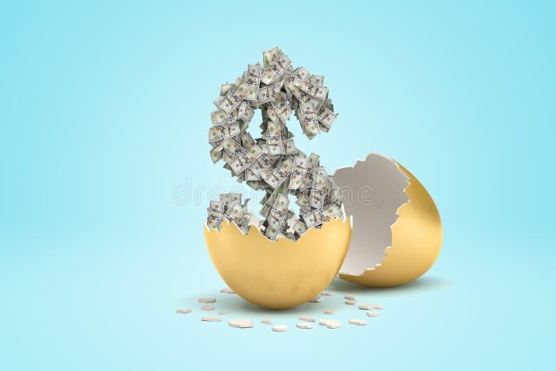rappresentazione 3d del dollaro dei soldi covata dall'uovo dorato su fondo blu-chiaro fotografia stock libera da diritti