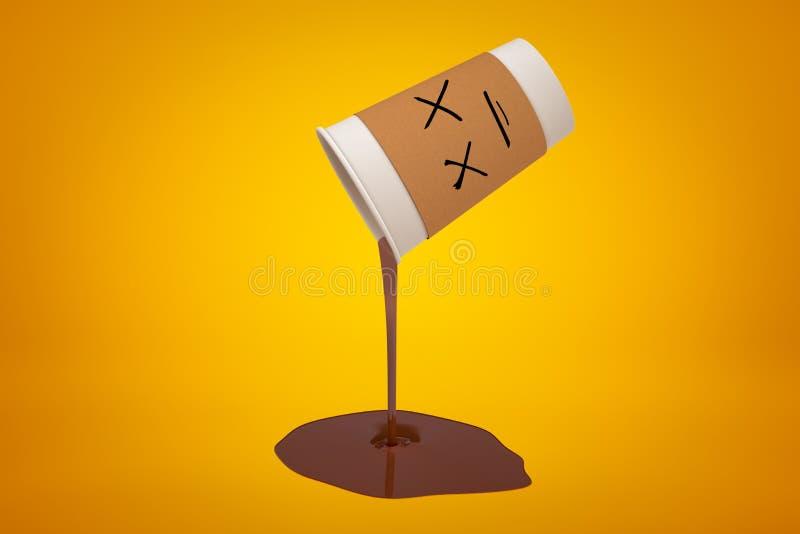rappresentazione 3d del liquido spesso del broun che si rovescia dalla tazza di caffè di carta su fondo giallo royalty illustrazione gratis