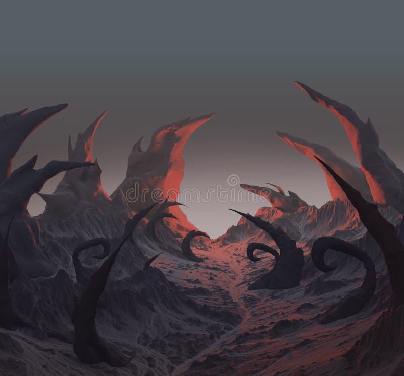 rappresentazione 3d del paesaggio scuro di orrore con le rocce taglienti royalty illustrazione gratis