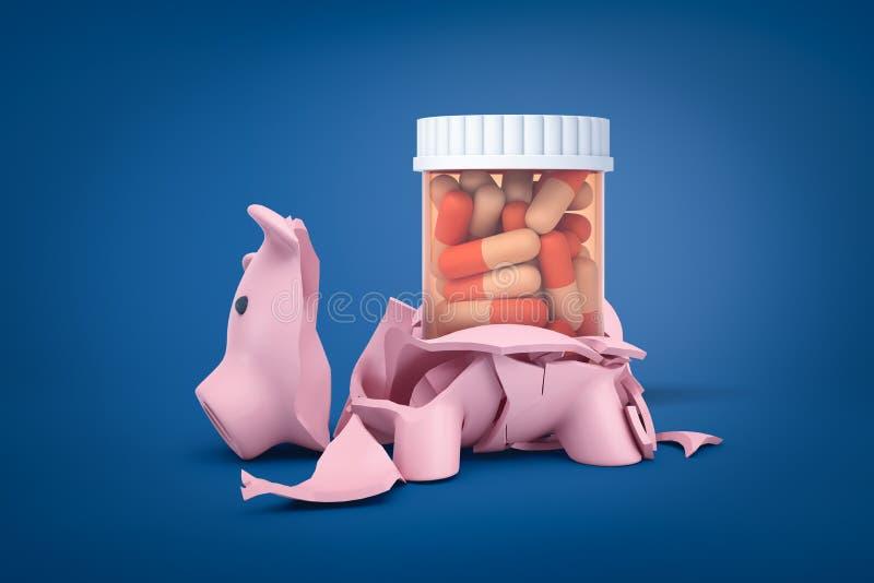 rappresentazione 3d del porcellino salvadanaio rotto con le pillole nell'interno di plastica del barattolo su fondo blu royalty illustrazione gratis