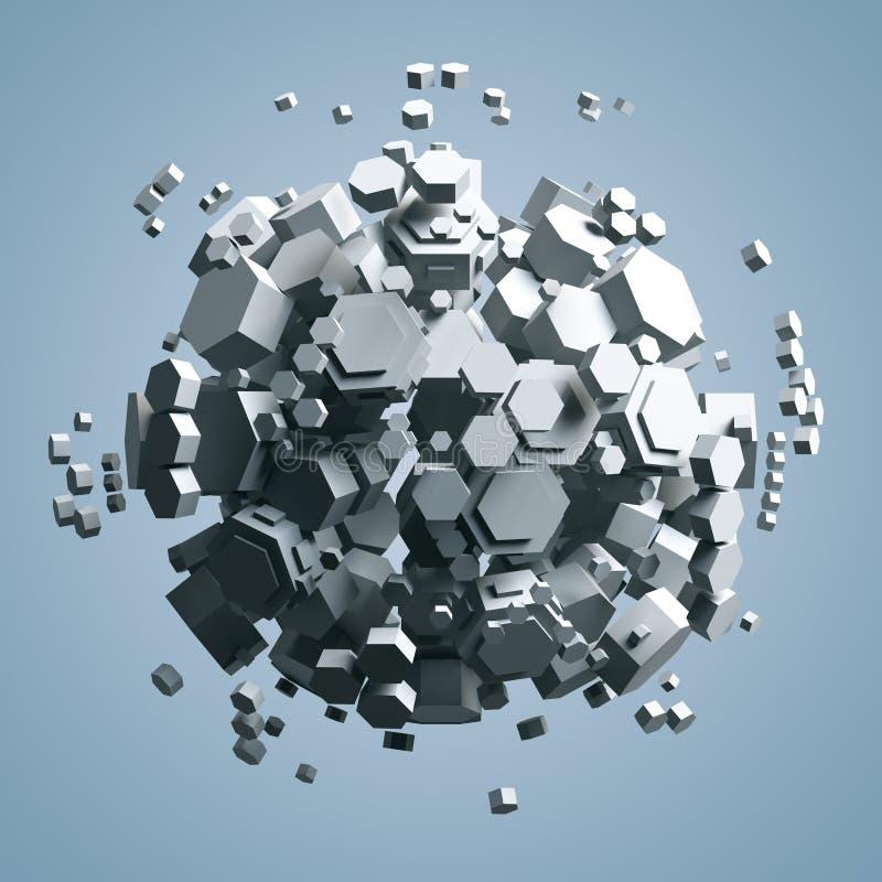 rappresentazione 3D del prisma esagonale bianco Fondo di fantascienza Sfera astratta nello spazio vuoto illustrazione di stock