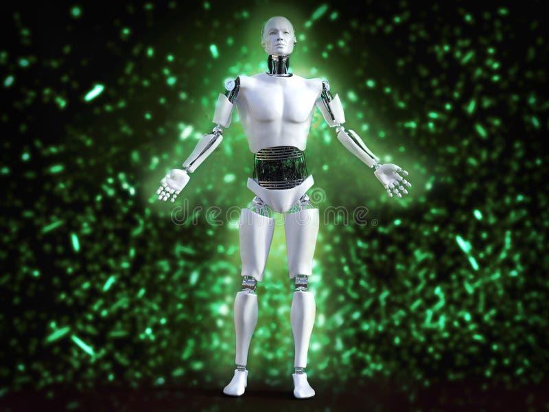 rappresentazione 3D del robot maschio con effetto della luce del bokeh illustrazione di stock