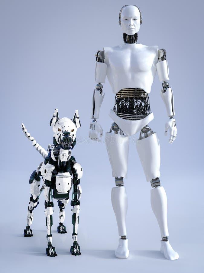 rappresentazione 3D del robot maschio con un cane futuristico del robot royalty illustrazione gratis