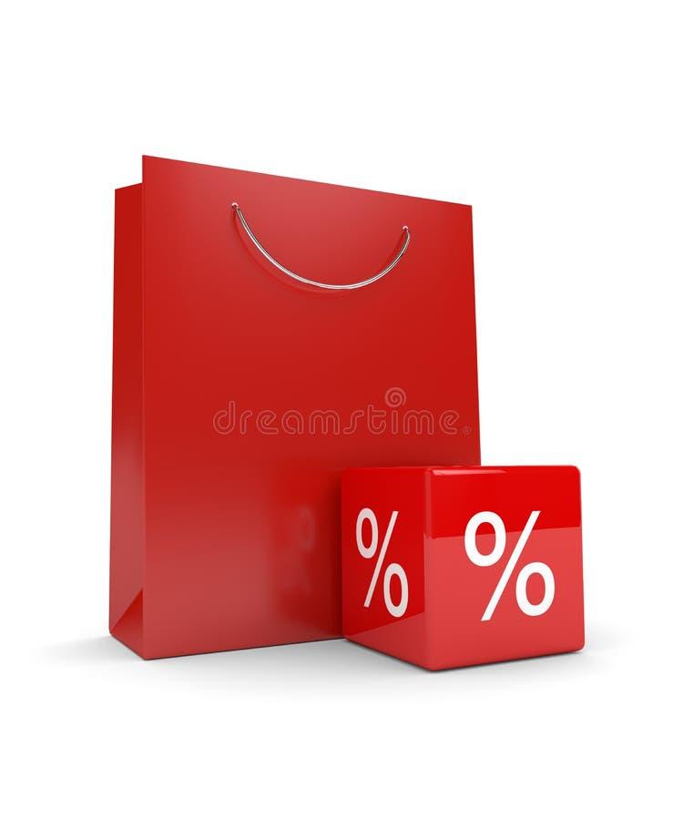 rappresentazione 3d del sacchetto della spesa e del cubo di sconto sopra bianco royalty illustrazione gratis