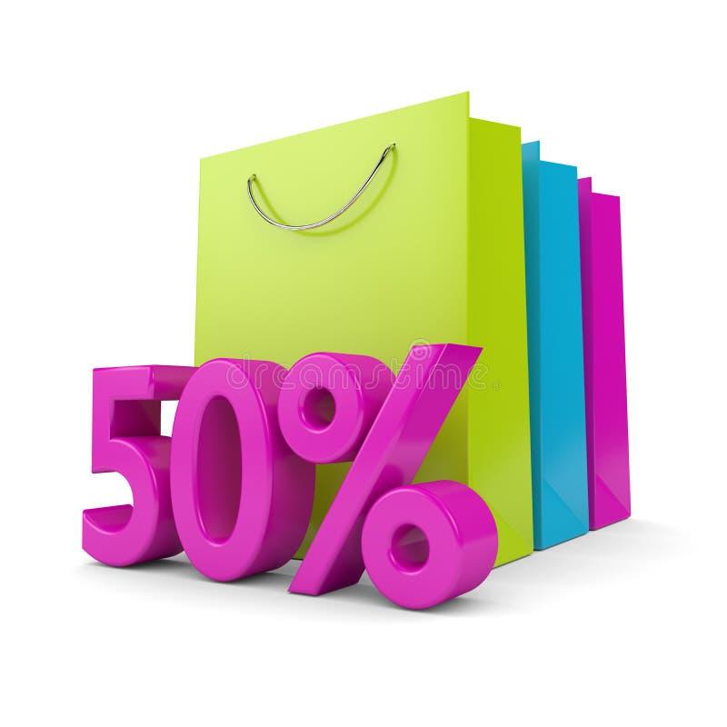 rappresentazione 3d del sacchetto della spesa e dello sconto di 50% sopra bianco illustrazione vettoriale