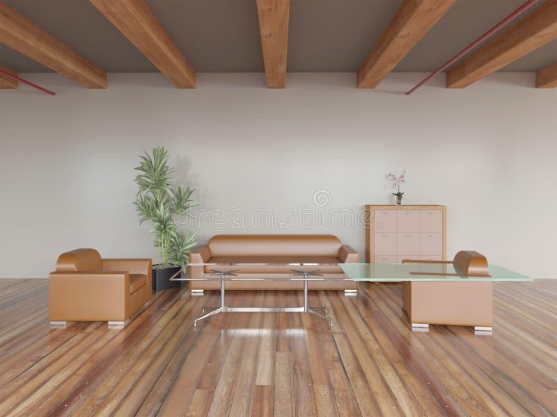 rappresentazione 3d del salone di legno nuovo del sottotetto con il sofà e le poltrone royalty illustrazione gratis
