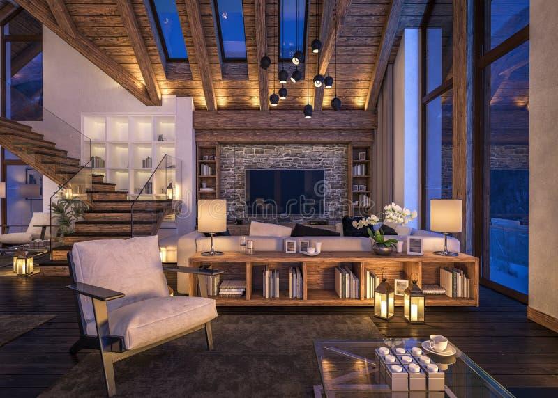 rappresentazione 3D del salone di sera del chalet immagini stock