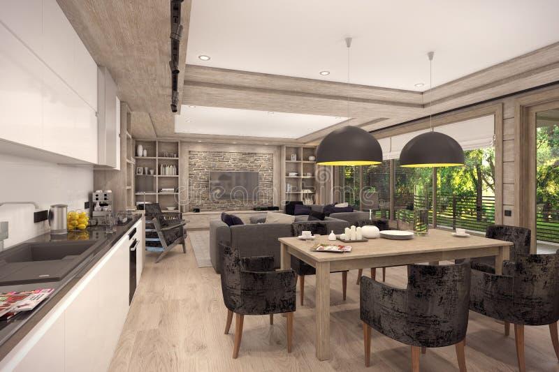 rappresentazione 3D del salone di una casa di campagna illustrazione di stock