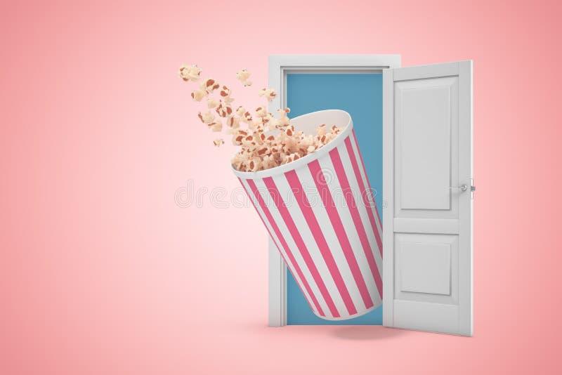 rappresentazione 3d del secchio enorme del popcorn che emerge dalla porta aperta e che rovescia un certo popcorn sul fondo rosa d illustrazione di stock