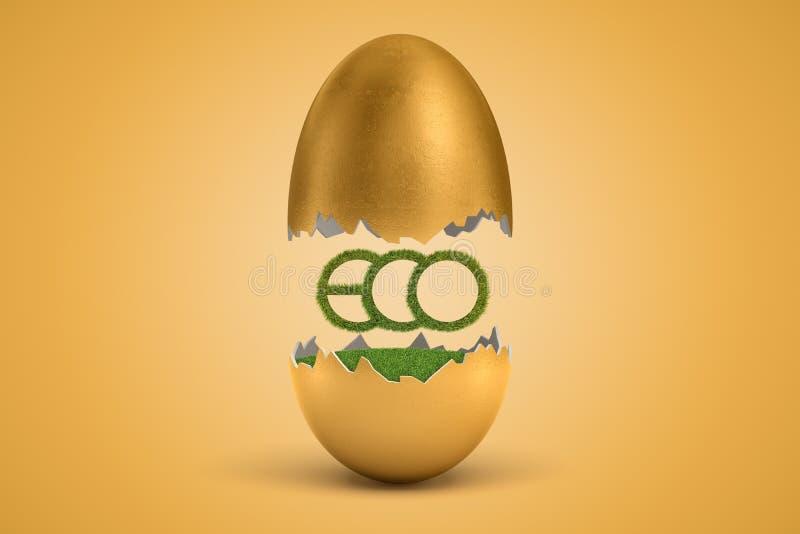 rappresentazione 3d del segno dell'erba verde ECO che cova dall'uovo dorato su fondo giallo royalty illustrazione gratis