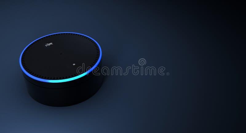 rappresentazione 3d del sistema di riconoscimento della voce di eco di Amazon royalty illustrazione gratis
