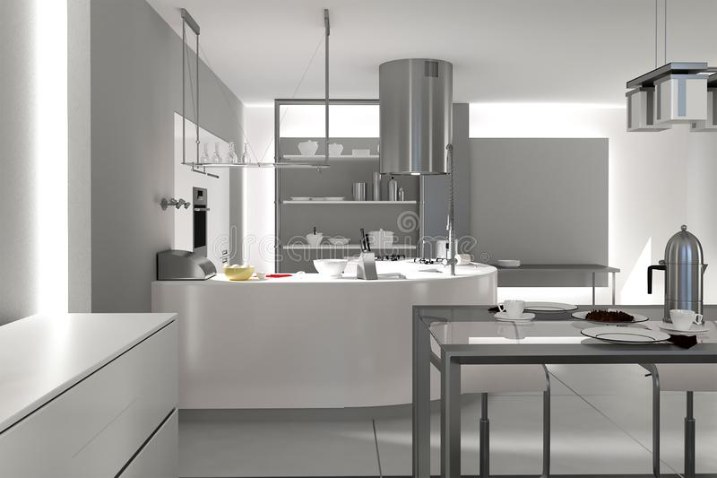 rappresentazione 3d dell'armadio da cucina inossidabile grigio illustrazione vettoriale
