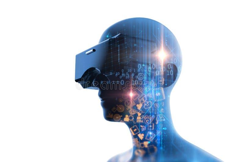 rappresentazione 3d dell'essere umano virtuale in cuffia avricolare di VR su tecnologia futuristica royalty illustrazione gratis