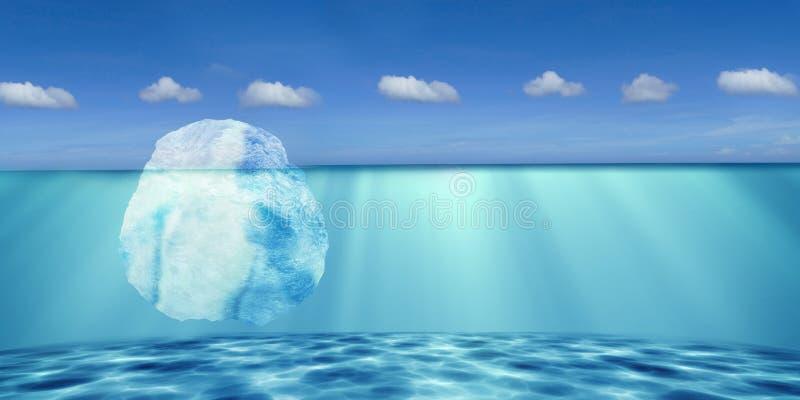 rappresentazione 3d dell'iceberg con il cielo piacevole del fondo royalty illustrazione gratis