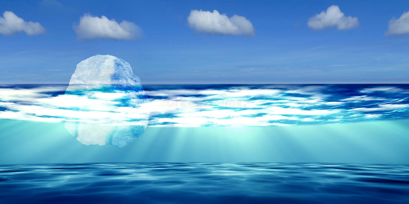 rappresentazione 3d dell'iceberg con il cielo piacevole del fondo illustrazione di stock