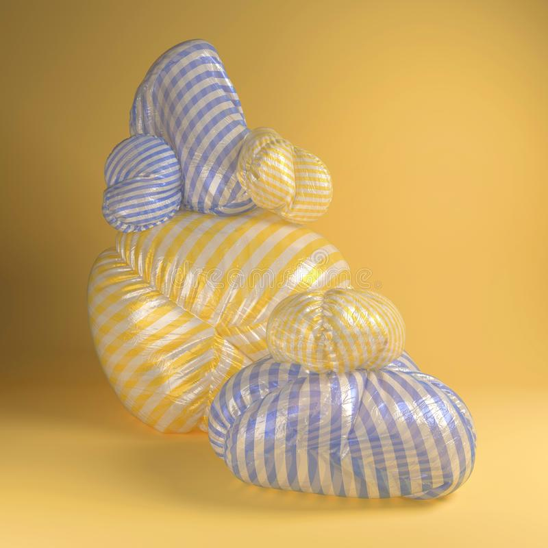 rappresentazione 3d dell'illustrazione astratta con puf sconosciuto amorfo royalty illustrazione gratis