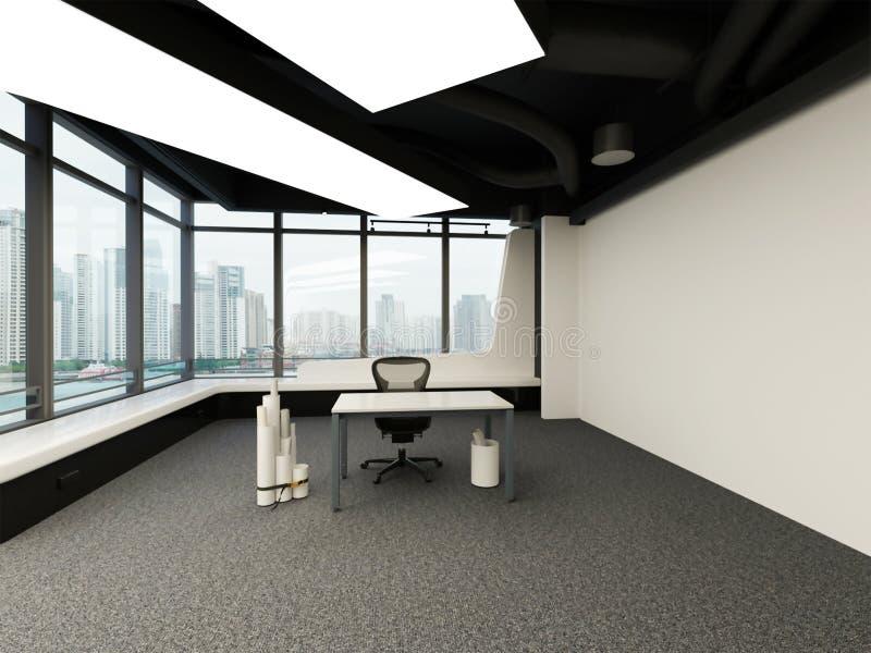 rappresentazione 3d dell'interno grande dell'ufficio con lo scrittorio e la sedia royalty illustrazione gratis