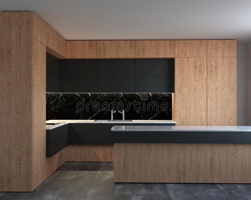 rappresentazione 3d dell'interno nuovo della cucina di ciao-tecnologia illustrazione di stock