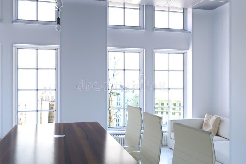 rappresentazione 3d dell'interno dell'ufficio con il grande primo piano della finestra royalty illustrazione gratis