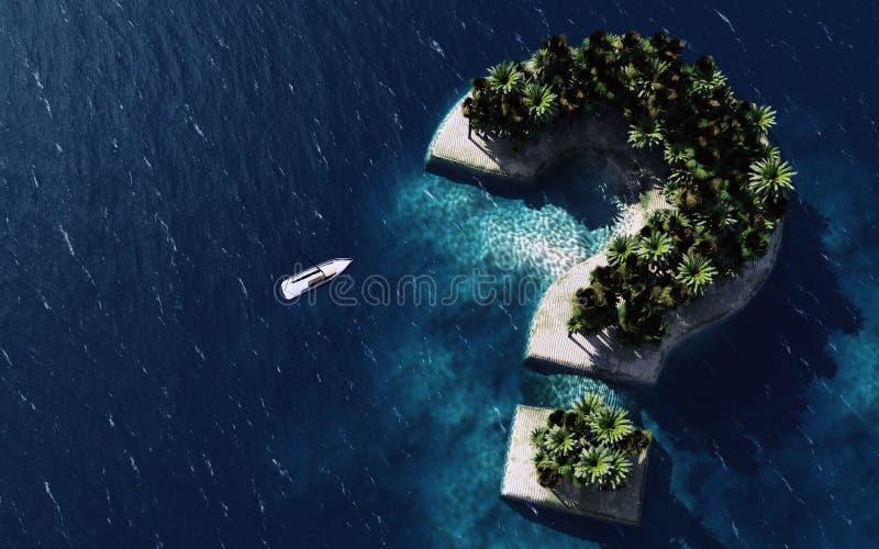 rappresentazione 3d dell'isola a forma di del segno di domanda illustrazione vettoriale