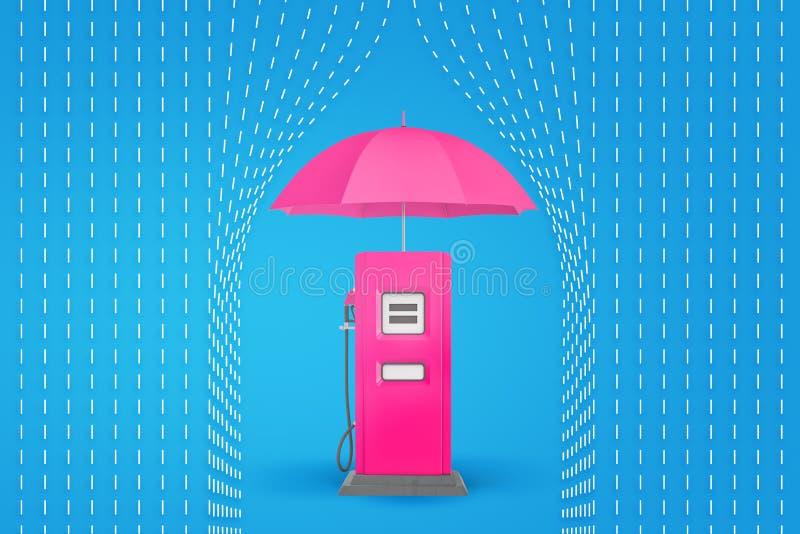 rappresentazione 3d dell'ombrello rosa sopra la pompa di benzina rosa con le linee tirate della pioggia su fondo blu illustrazione di stock