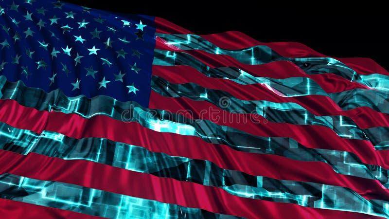 rappresentazione 3d della bandiera americana fatta nello stile cyber La bandiera si sviluppa uniformemente nel vento illustrazione vettoriale