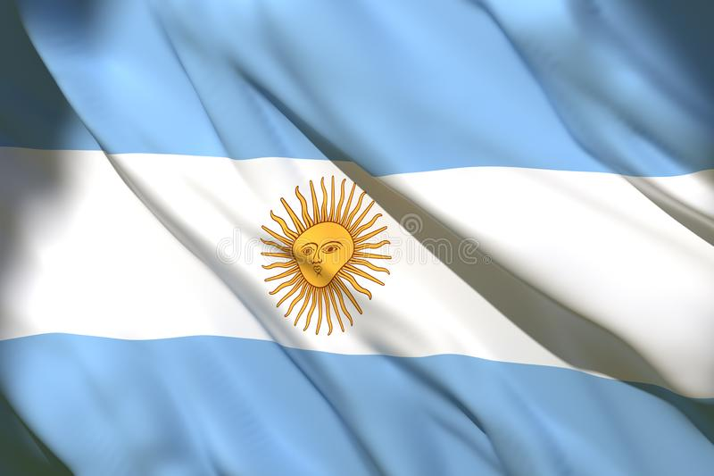 rappresentazione 3d della bandiera dell'Argentina illustrazione di stock