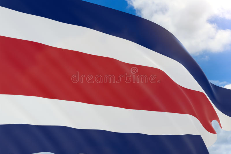rappresentazione 3D della bandiera di Costa Rica che ondeggia sul cielo blu illustrazione di stock