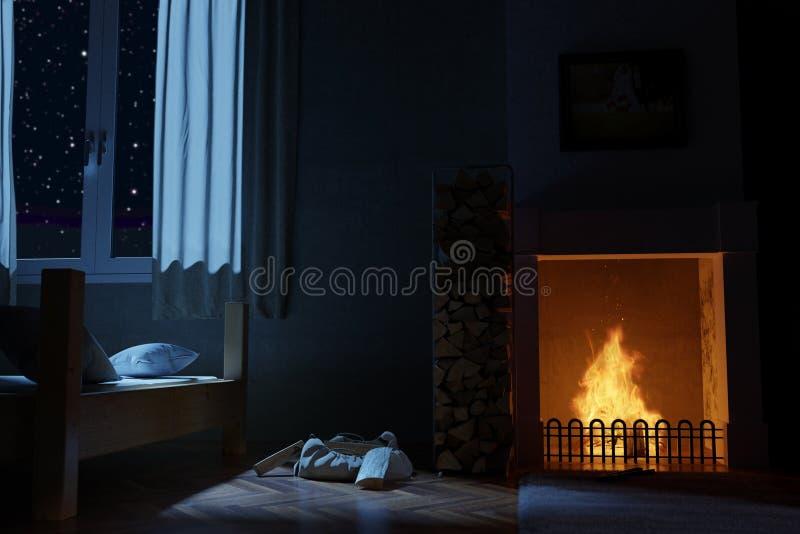 rappresentazione 3d della camera da letto con il camino alla notte profonda illustrazione di stock