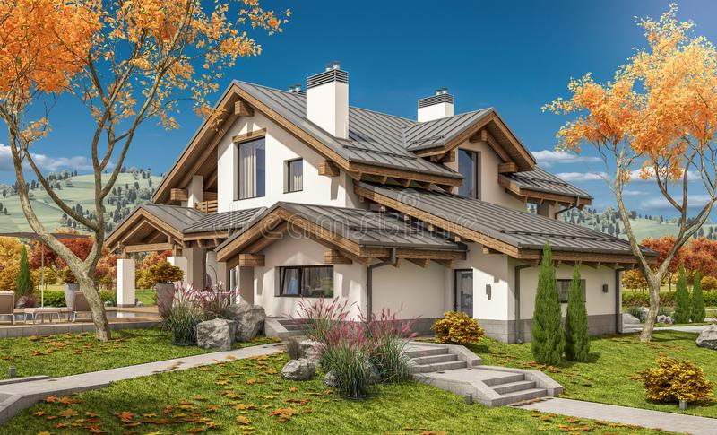rappresentazione 3D della casa moderna illustrazione vettoriale