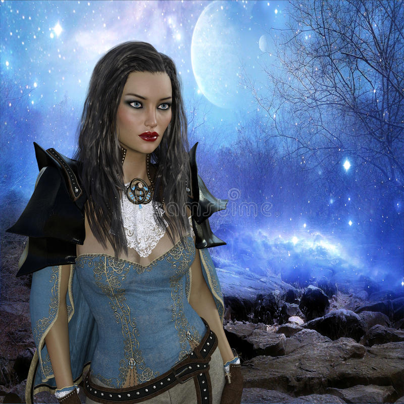 rappresentazione 3D della donna nel fondo di fantasia illustrazione vettoriale