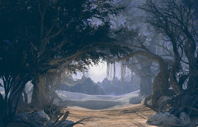 rappresentazione 3d della foresta scura incantata nella luce della luna illustrazione vettoriale