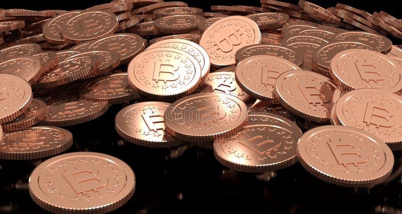rappresentazione 3D della moneta Bitcoin illustrazione vettoriale