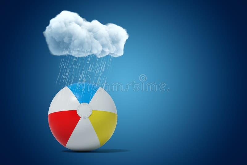 rappresentazione 3d della nuvola piovosa bianca sopra beach ball variopinto su fondo blu illustrazione di stock