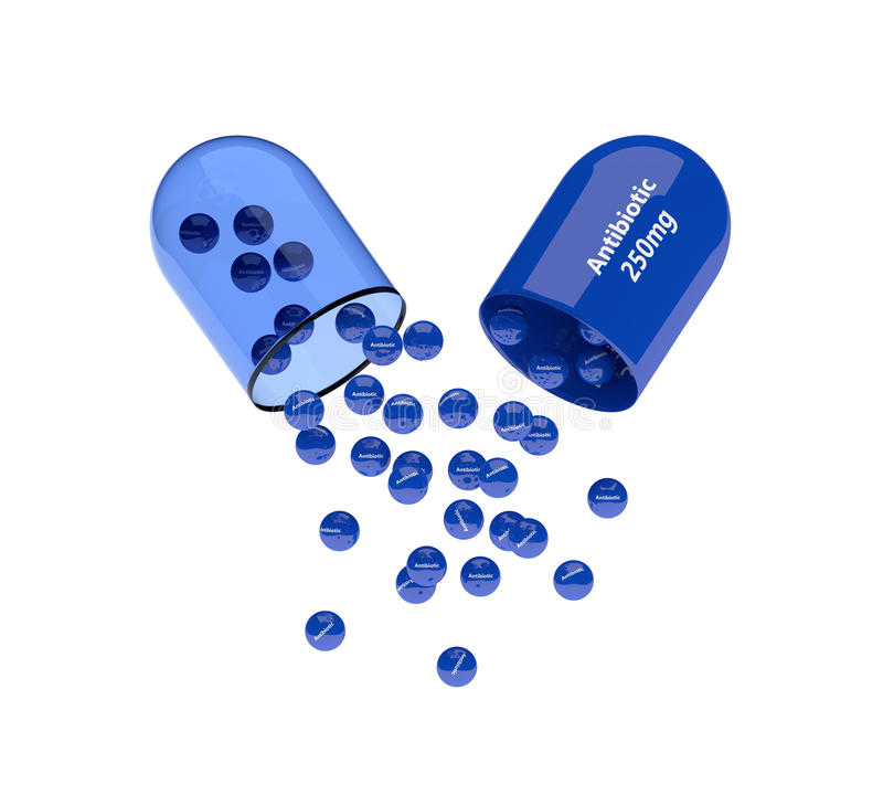 rappresentazione 3d della pillola antibiotica con i granelli isolati illustrazione vettoriale