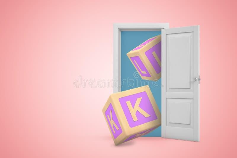 rappresentazione 3d della porta aperta sul fondo rosa del copyspace di pendenza e due grandi sui blocchetti di ABC che volano dal royalty illustrazione gratis