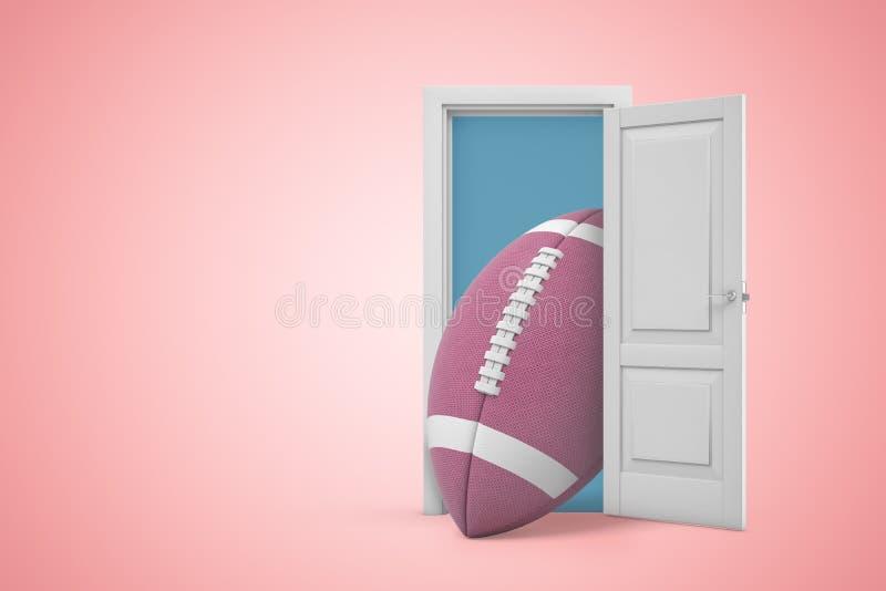 rappresentazione 3d della porta aperta sul fondo rosa di pendenza e di grande palla ovale marrone per football americano in entra illustrazione di stock