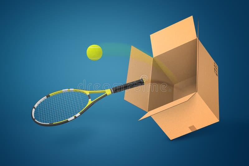 rappresentazione 3d della racchetta e della pallina da tennis di tennis che cadono dalla scatola di cartone su fondo blu illustrazione di stock