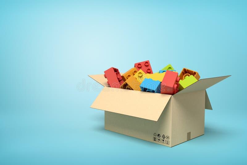 rappresentazione 3d della scatola di cartone in pieno dei mattoni variopinti del giocattolo su fondo blu-chiaro con lo spazio del illustrazione di stock