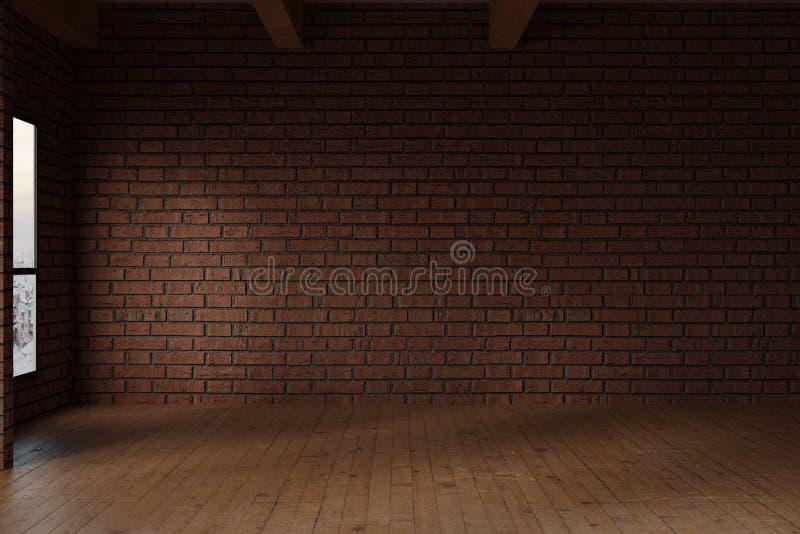 rappresentazione 3d della stanza dello studio con la parete di mattoni rossi illustrazione di stock