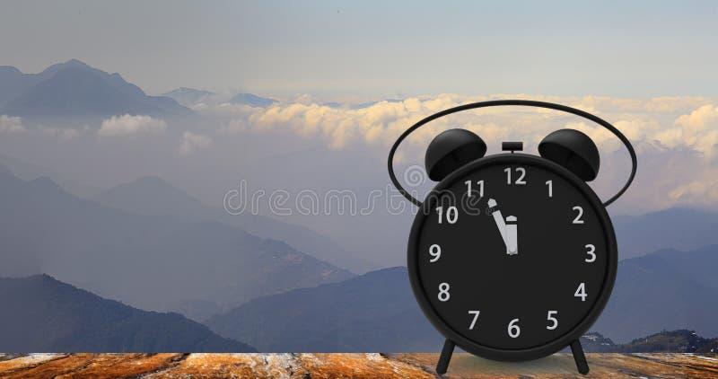 rappresentazione 3d della sveglia con i piccoli minuti al cloc del ` di dodici o immagine stock