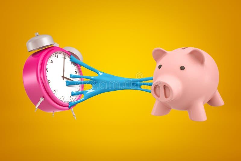 rappresentazione 3d della sveglia rosa attaccata per dentellare porcellino salvadanaio con melma appiccicosa blu su fondo giallo fotografie stock
