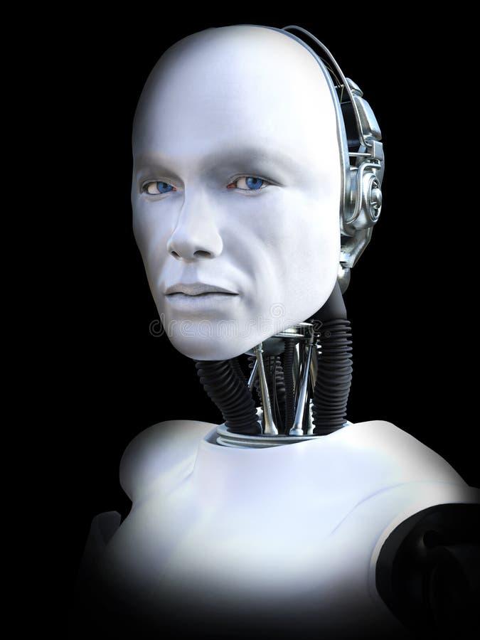 rappresentazione 3D della testa maschio del robot royalty illustrazione gratis