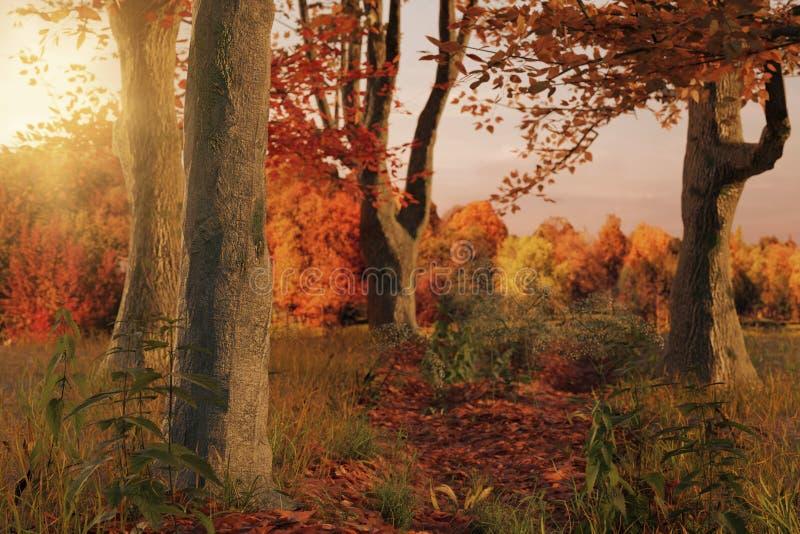 rappresentazione 3d della via scenica della foresta nella stagione di autunno e nella e illustrazione vettoriale