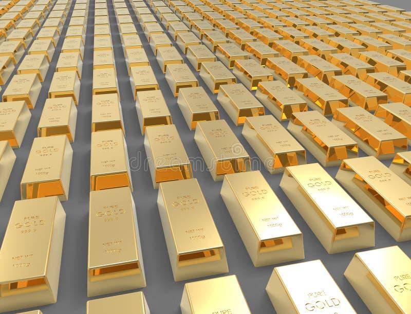 rappresentazione 3D delle barre di oro isolate sul fondo bianco dello studio royalty illustrazione gratis
