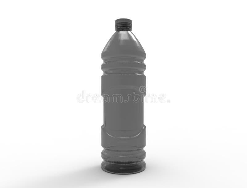 rappresentazione 3D delle bottiglie di plastica isolate nel fondo bianco dello studio illustrazione vettoriale