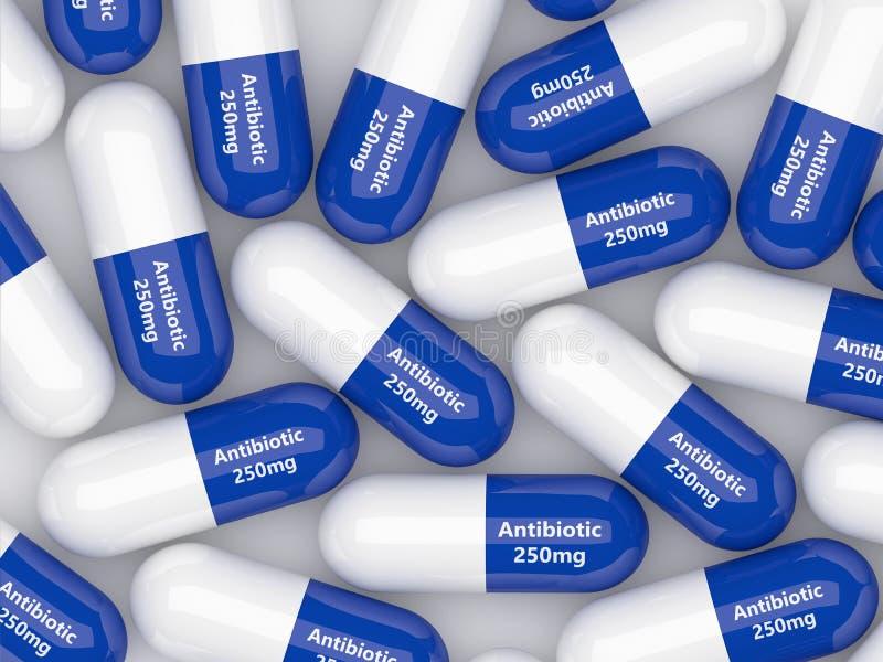 rappresentazione 3d delle pillole antibiotiche che si trovano sopra la tavola bianca illustrazione vettoriale