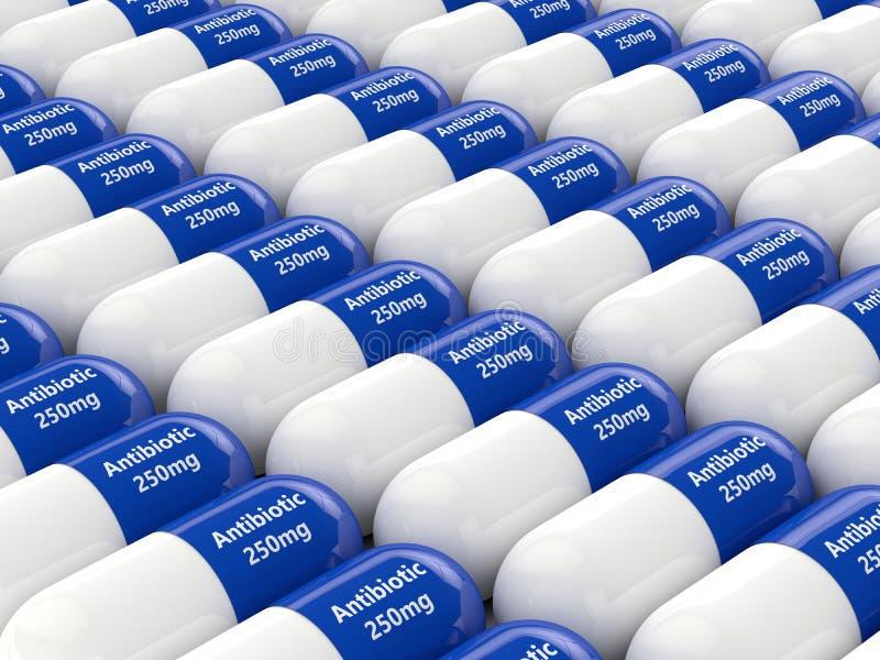 rappresentazione 3d delle pillole antibiotiche nella fila illustrazione di stock