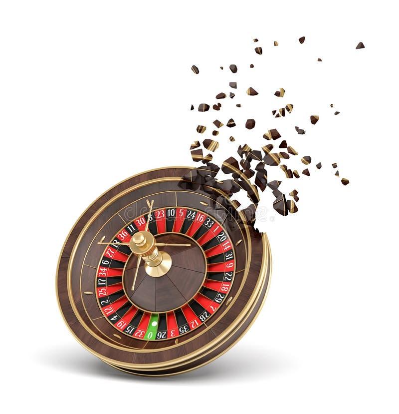 rappresentazione 3d delle roulette del casinò che si rompe nei piccoli pezzi isolati su fondo bianco royalty illustrazione gratis